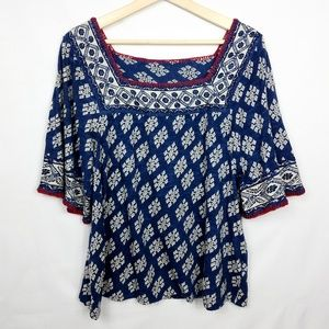 Lucky Brand Square Neck Bell Sleeve Top